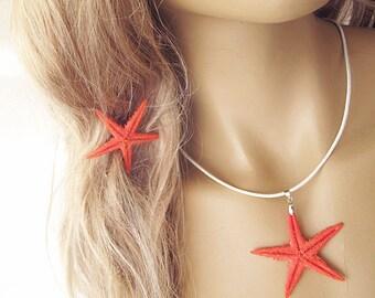 Hair Accessories, Starfish Hair Accessory, Summer, Orange, Hair Pins, Starfish Pins, Mermaid, Hair Clip and Necklace, Natural, Hand-Painting