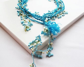 Nautical Knot Rope Necklace, Blue Flowers Crochet Jewelry, Jewelry, Blue Knot Necklace,  Summer Accessory, Fashion For Women
