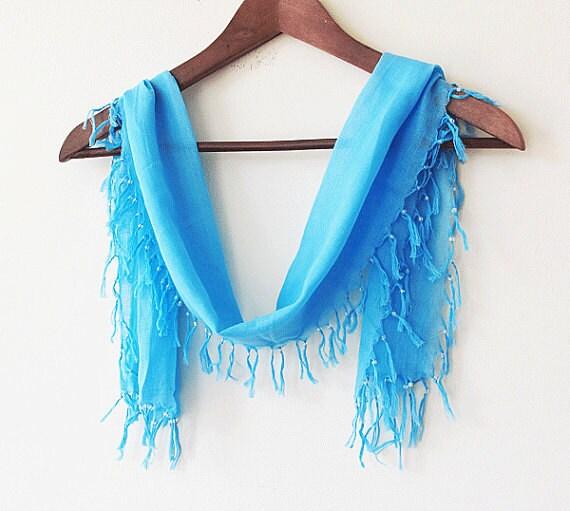 turquoise blue scarf  bandana, rectangular fringed, Turban Headband,yemeni, turkish cotton summer accessory