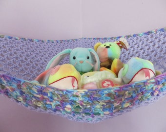 Crochet toy net hammock in lavender and variegated blue, purple and green, stuffed animal storage for girls room MADE TO ORDER