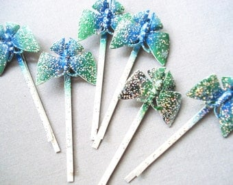 Vintage Butterfly Hairpins - 2 Vintage Glitter Hairclips - Bobby Pins - Hair Accessories
