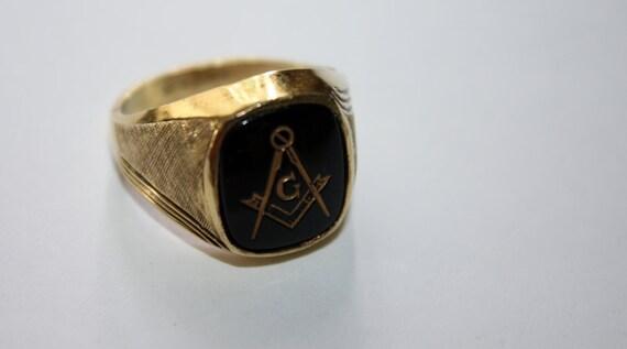 Vintage Mens Masonic Ring 10kt GF 1930s Jewelry