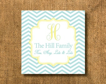 Blue, Yellow, Orange Chevron Monogrammed Family Calling Cards, Gift Tags or Business Cards, Family Gift Tags, Mommy Cards, Chevron Gift Tags