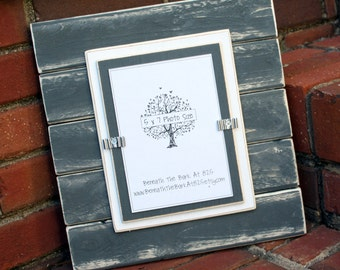 Picture Frame - Distressed Wood - Horizontal Boards - Holds a Vertical 5x7 Photo - Gray & White
