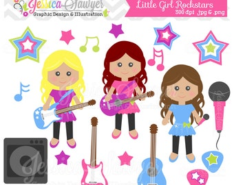 INSTANT DOWNLOAD, little girl rockstar clipart, rockstar clip art, guitar graphic, for commercial use, printable, birthday invite
