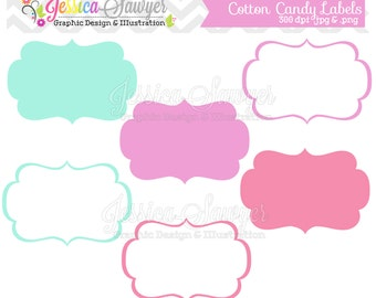 INSTANT DOWNLOAD,  aqua pink purple digital labels, printable label, tags, frames, cotton candy labels, invites, cards, scrapbooking