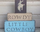 N U R S E R Y // Cowboy Nursery Blocks little boys nursery horses room decor western Rustic cowgirl girl