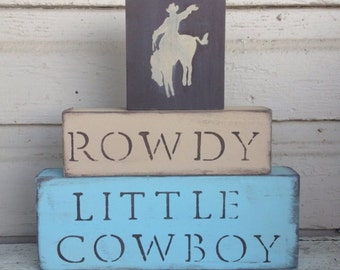 N U R S E R Y // Cowboy Nursery Blocks little boys nursery horses room decor western Rustic cowgirl girl