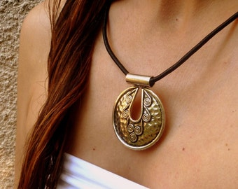 Tribal Pendant Medallion. Ethnic Silver Jewelry. Bohemian Accessories
