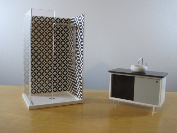 Dollhouse Modern Shower and Vanity Set 1/12 Scale