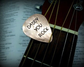 Hand Stamped Copper Guitar Pick - Dad - Daddy you rock