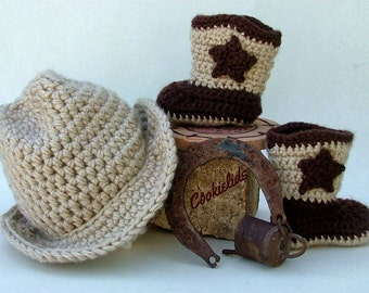 Crocheted Cowboy infant hat & boot set