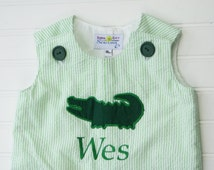 Monogrammed Baby Boy Shortall or Jon Jon:  Green Seersucker with Alligator Toddler Boy John John outfit, Monogrammed Seersucker outfit