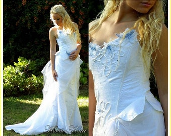 Magical Alternative Corseted Wedding Gown with Handpainted Blue Flowers - Artemis