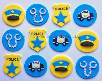 Fondant Cupcake Toppers - Police