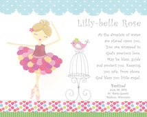 Girls Baby Christening Gifts - Baptism Gift for Girl - Personalized Baptism Keepsake -  Ballerina Print - PRINT