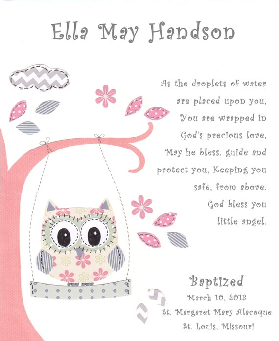 Baptism gift for baby girl christening gift for girls owl like this item negle Image collections
