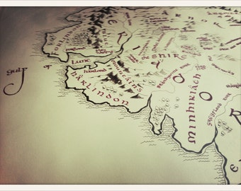 """Lord of the Rings Middle-Earth Full-sized Map // 55"""" x 42"""" Handdrawn Calligraphed Poster // Ideal Hobbit's Gift"""