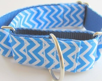 Wide Blue Chevron Dog Collar Martingale or Buckle