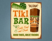 Vintage Printed Wall Sign Tiki Bar Repositionable Removable Print Fabric, bar wall sticker tiki bar sign vintage tin sign wall art decal