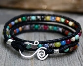 Sterling Swirl Clasp - Vegan Calico Double Beaded  Wrap Bracelet
