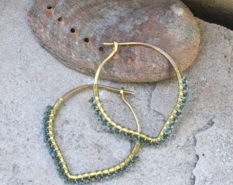 Bronze Hoops, Clearance, Petal Hoop Earrings, Green Gold, Seed Bead Earrings, Wire Wrapped Hoops, Lightweight Earrings, Wire Jewelry