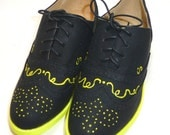 Custom painted black and yellow ladies shoe size 7 ON SALE