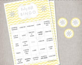 Chevron Baby Shower - Unisex Yellow & Grey Gift Bingo Game -  INSTANT DOWNLOAD