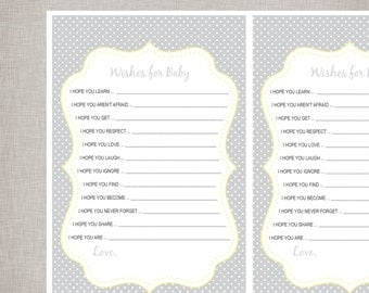 Wishes For Baby Sheets - Grey Polka Dot -  INSTANT DOWNLOAD