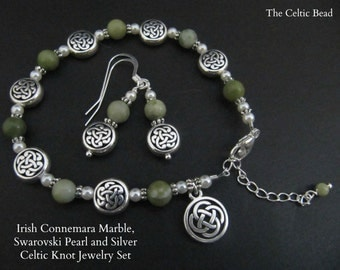 Irish Connemara Marble, Pearl & Silver Celtic Knot Bracelet and Earring set