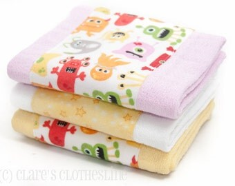 Baby Burp Cloths - Pink and Yellow Monsters Burp Cloth Set of 3 - READY TO SHIP