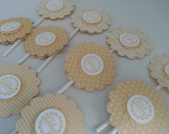 12 Butter Yellow Baby Shower Cupcake Toppers, Baby Shower Oh Baby Cupcake Toppers, Baby Shower Cupcake Toppers Pale Yellow