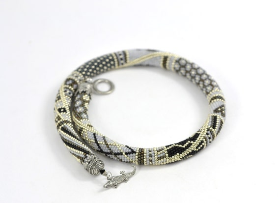 Silver fog - Classic Bead Crochet Necklace Silver Necklace Modern Geometric Jewelry Beadwork Made to order