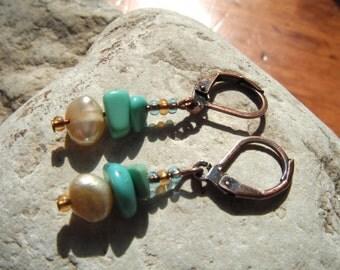"Copper, Turquoise and Freshwater Pearl Earrings ""Pretty Baby Drops"" Short Dangle Earrings"