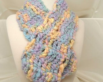 Cotton Candy Wool Crocheted Scarf