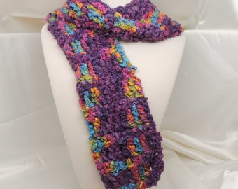 Purple and More Crocheted Scarf