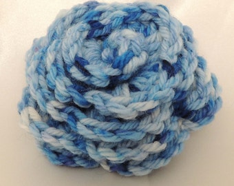 Blue Crocheted Rose with Pin Back
