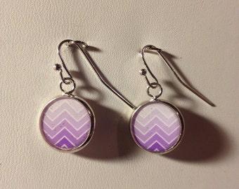 Purple Zigzag Dangle Earrings