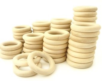 "100pcs Wooden Teething Rings - size 2 1/4"" - WHOLESALE PRICE"