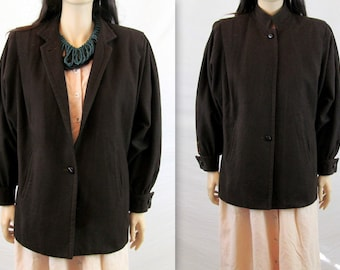 80's Jacket / Minimalist Jacket Vintage Jacket Slouchy Jacket Oversized Wool Jacket Brown Jacket Vintage 80's Jacket Wool Coat Brown Coat