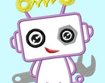 Cute Robot with Tool APPLIQUE Embroidery Designs 4 sizes  INSTANT DOWNLOAD