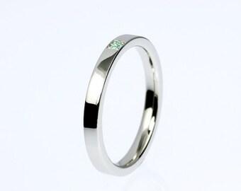 Green diamond ring, palladium, wedding ring, modern wedding band, green diamond wedding ring, thin ring, simple wedding, green engagement