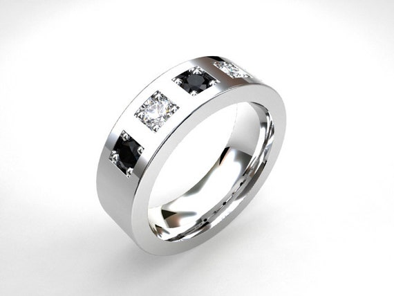 White And Black Diamond Wedding Band By TorkkeliJewellery On Etsy