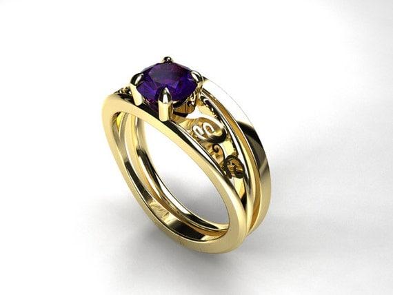 Engagement ring set, Tanzanite engagement ring, filigree ring, simple wedding band, purple engagement, yellow gold, Tanzanite, solitaire