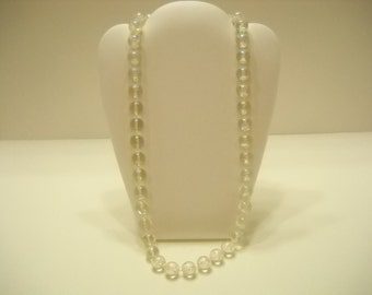 CLEAR BEADED NECKLACE (1350) Sparkly and Iridescent