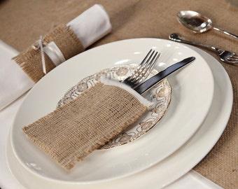 Burlap cutlery holders, linen with ivory satin trim, silverware sleeves - set of 6