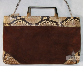 Vintage 1970's Handbag - Bags by Varon Snakeskin and Brown Suede Purse