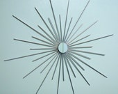 24 Inch Metal Starburst Sunburst Wall Art with Single Mirror in SILVER, METALLIC Mid Century Modern Retro Mod Atomic Era