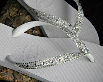 Custom Crystal Wedding Flip Flops Full Moon Havaîanas or Cariris Wedge Heel w/ Swarovski Rhinestone Bling Bridal Beach Reception Sandal Shoe