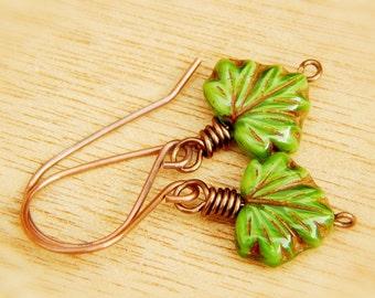 Green Leaf Dangle Drop Earrings, fall copper leaf jewelry, Rustic Leaf Earrings, Maple Leaf Earrings